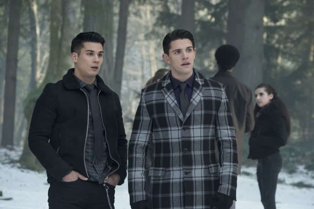 "Riverdale -- ""Chapter Thirty-Two: Prisoners"" -- Image Number: RVD219b_0270.jpg -- Pictured (L-R): Drew Ray Tanner as Fangs Fogarty and Casey Cott as Kevin -- Photo: Katie Yu/The CW -- © 2018 The CW Network, LLC. All Rights Reserved."