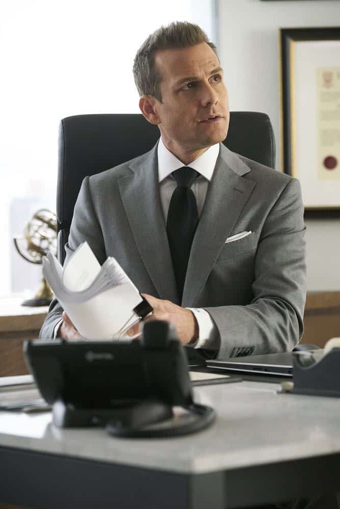"SUITS -- ""Tiny Violin"" Episode 715 -- Pictured: Gabriel Macht as Harvey Specter -- (Photo by: Ian Watson/USA Network)"