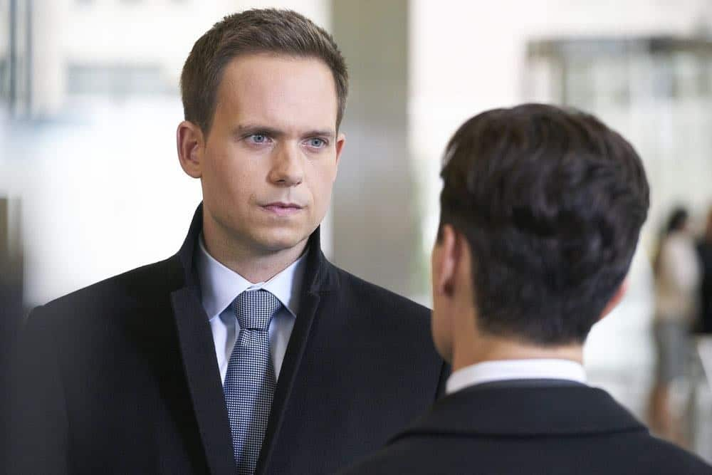 "SUITS -- ""Tiny Violin"" Episode 715 -- Pictured: Patrick J. Adams as Mike Ross -- (Photo by: Ian Watson/USA Network)"