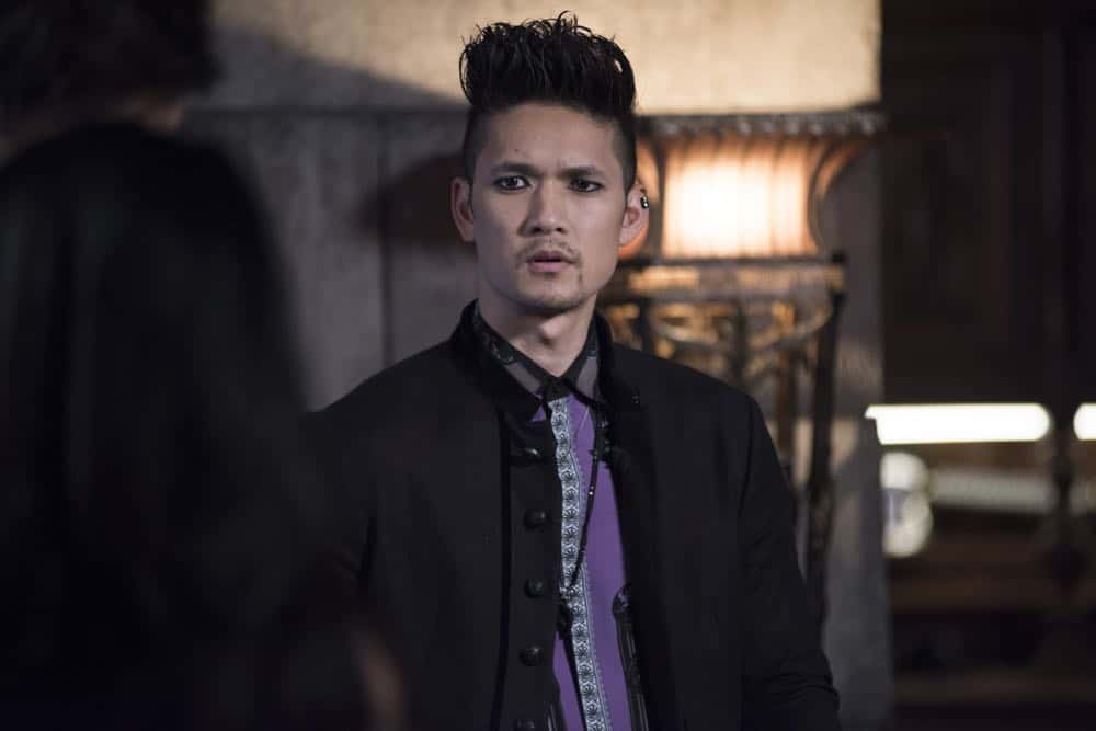 "SHADOWHUNTERS - ""Salt In The Wound"" - With the Owl's identity revealed, Alec, Isabelle, and Clary head to Alicante to try and find a way to stop him. Luke and Simon team up to track Lilith's  latest possible victim. Maia reflects on her past. This episode of ""Shadowhunters"" airs Tuesday, May 1 (8:00 - 9:00 p.m. EDT) on Freeform. (Freeform/John Medland) HARRY SHUM JR."