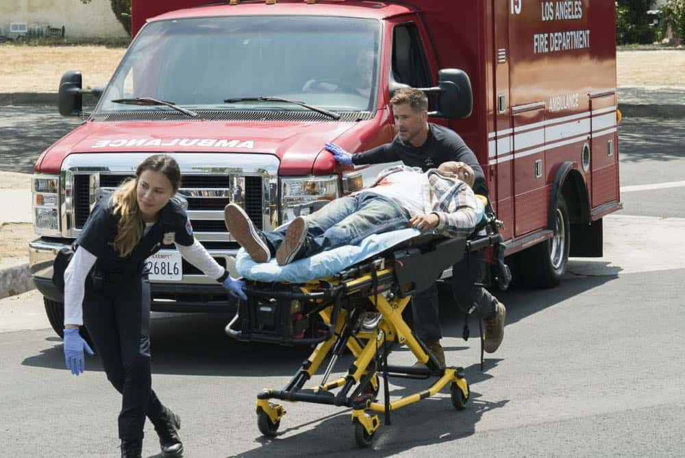 """Third Year"" -- A drug bust-turned-shootout tests the bravery of the doctors of Angels Memorial as they race to save a girl caught in the crossfire. Also, Willis (Rob Lowe) shifts his focus to field medicine, choosing to work primarily on an ambulance with his new partner, paramedic Rox (Moon Bloodgood). And Leanne (Marcia Gay Harden) begins her journey to adopt Ariel (Emily Alyn Lind), on the third season premiere of CODE BLACK, Wednesday, April 25 (10:00-11:00PM, ET/PT) on the CBS Television Network.  Pictured: Moon Bloodgood (Rox Valenzuela), Rob Lowe (Col. Ethan Willis)   Photo: Monty Brinton/CBS ©2017 CBS Broadcasting, Inc. All Rights Reserved"