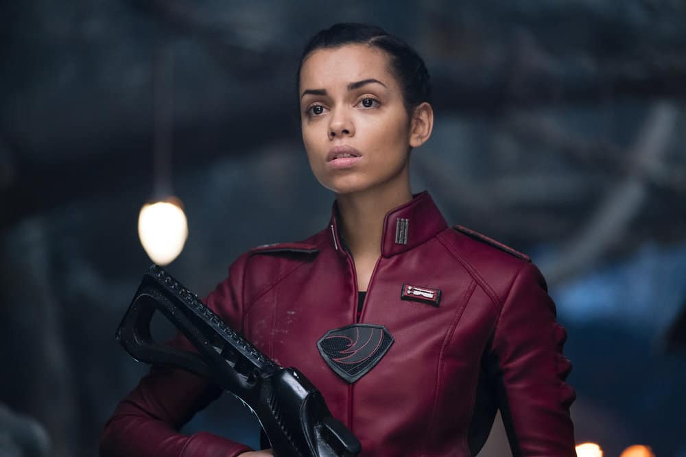 "KRYPTON -- ""Civil Wars"" Episode 106 -- Pictured: Georgina Campbell as Lyta-Zod -- (Photo by: Steffan Hill/Syfy)"