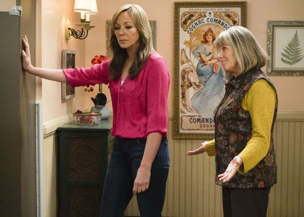 """A Taco Bowl and a Tubby Seamstress"" -- Christy is concerned that she and Bonnie might lose their apartment when Bonnie locks horns with the tough new building owner, Rita (Patti Lupone), on MOM, Thursday, April 26 (9:01-9:30 PM, ET/PT) on the CBS Television Network. Pictured L to R: Allison Janney as Bonnie and Mimi Kennedy as Marjorie. Photo: Richard Cartwright/CBS ©2018 CBS Broadcasting, Inc. All Rights Reserved"