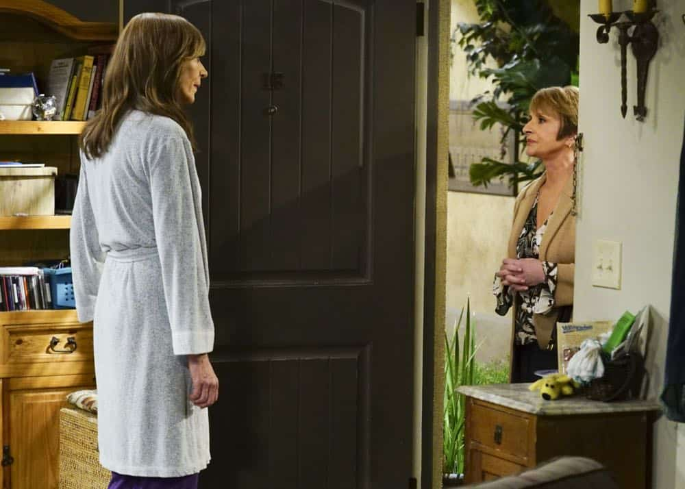 """A Taco Bowl and a Tubby Seamstress"" -- Christy is concerned that she and Bonnie might lose their apartment when Bonnie locks horns with the tough new building owner, Rita (Patti Lupone), on MOM, Thursday, April 26 (9:01-9:30 PM, ET/PT) on the CBS Television Network. Pictured L to R: Allison Janney as Bonnie, and Patti Lupone as Rita. Photo: Monty Brinton/CBS ©2018 CBS Broadcasting, Inc. All Rights Reserved"