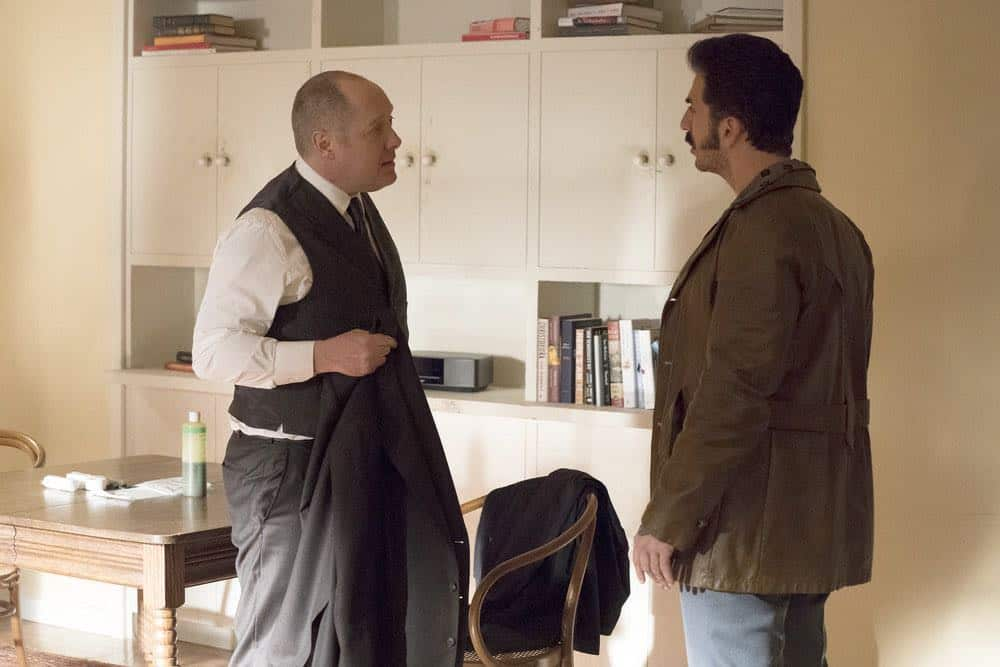 "THE BLACKLIST -- ""Nicholas T. Moore (#110)"" Episode 520 -- Pictured: (l-r) James Spader as Raymond ""Red"" Reddington, Michael Aronov as Smokey Putnam -- (Photo by: Virginia Sherwood/NBC)"