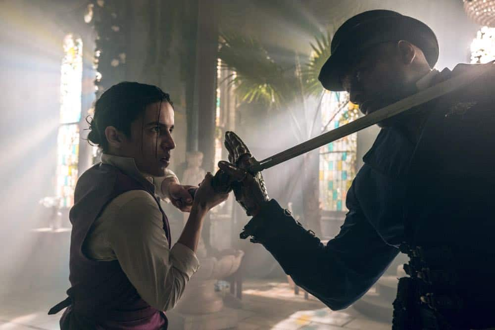 Aramis Knight as M.K., Sherman Augustus as Moon - Into the Badlands _ Season 3, Episode 2 - Photo Credit: Aidan Monaghan/AMC
