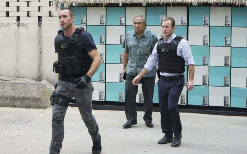 """Kōpī wale nō i ka i'a a 'eu nō ka ilo."" -- Five-0 must help Duke after he is forced to steal crucial evidence from the police locker in exchange for his kidnapped granddaughter. Also, Jerry goes undercover at a mental health facility in order to solve a murder, on HAWAII FIVE-0, Friday, April 27 (9:00-10:00 PM, ET/PT) on the CBS Television Network. Pictured L to R: Alex O'Loughlin as Steve McGarrett, Dennis Chun as Sgt. Duke Lukela and Scott Caan as Danny ""Danno"" Williams. Photo: Karen Neal/CBS ©2018 CBS Broadcasting, Inc. All Rights Reserved (""Kōpī wale nō i ka i'a a 'eu nō ka ilo."" is Hawaiian for ""Though the Fish is Well Salted, the Maggots Crawl."")"