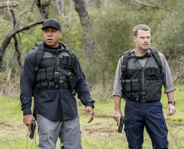 """""""Reentry"""" - Pictured: Chris O'Donnell (Special Agent G. Callen) and LL COOL J (Special Agent Sam Hanna). Callen, Sam and Nell travel to the Angeles Forest to search for pieces of a failed rocket launch, including a top-secret government device. Also, Hetty tries to help Keane (Jeff Kober) acclimate to life in the states, on NCIS: LOS ANGELES, Sunday, April 29 (9:00-10:00 PM, ET/PT) on the CBS Television Network. Photo: Bill Inoshita/CBS ©2018 CBS Broadcasting, Inc. All Rights Reserved."""