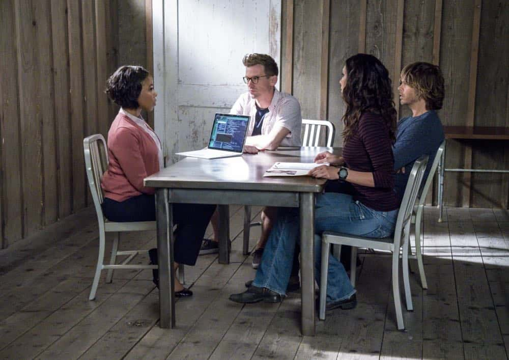 """Reentry"" - Pictured: Barrett Foa (Tech Operator Eric Beale), Daniela Ruah (Special Agent Kensi Blye) and Eric Christian Olsen (LAPD Liaison Marty Deeks). Callen, Sam and Nell travel to the Angeles Forest to search for pieces of a failed rocket launch, including a top-secret government device. Also, Hetty tries to help Keane (Jeff Kober) acclimate to life in the states, on NCIS: LOS ANGELES, Sunday, April 29 (9:00-10:00 PM, ET/PT) on the CBS Television Network. Photo: Bill Inoshita/CBS ©2018 CBS Broadcasting, Inc. All Rights Reserved."