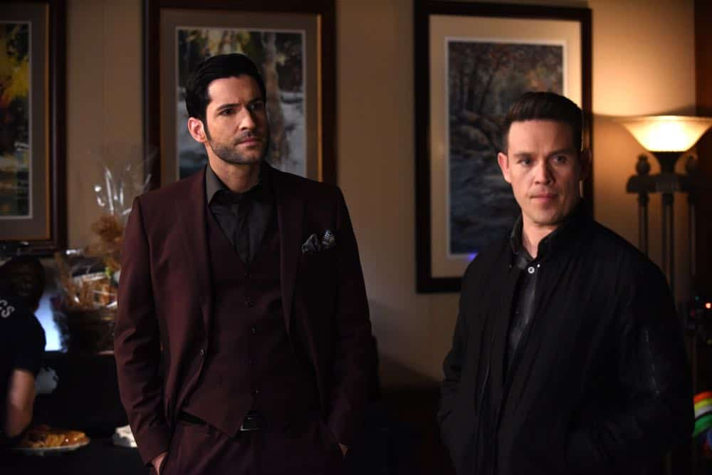 "LUCIFER: L-R: Tom Ellis and Kevin Alejandro in the ""All Hands on Decker"" episode of LUCIFER airing Monday, April 30 (8:00-9:00 PM ET/PT) on FOX. CR: FOX"