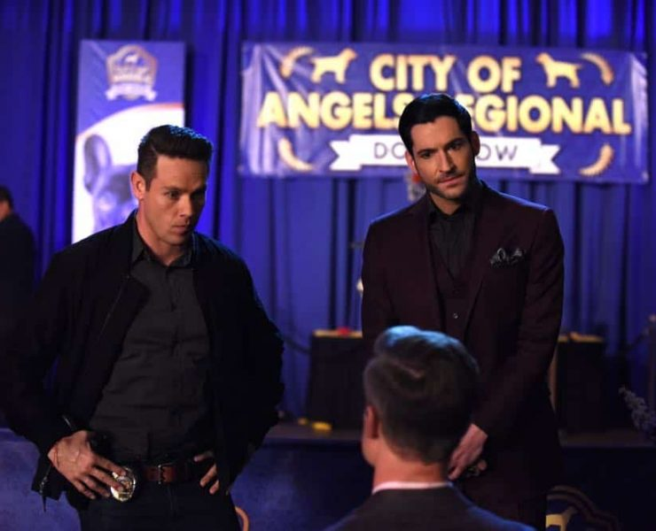 "LUCIFER: L-R: Kevin Alejandro and Tom Ellis in the ""All Hands on Decker"" episode of LUCIFER airingMonday, April 30 (8:00-9:00 PM ET/PT) on FOX. CR: FOX"