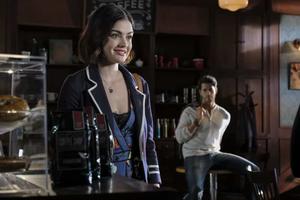 "Life Sentence -- ""Who Framed Stella Abbott"" -- Image Number: LFS106a_0259b.jpg -- Pictured (L-R): Lucy Hale as Stella and Jayson Blair as Aiden -- Photo: Bettina Strauss/The CW -- © 2018 The CW Network, LLC. All Rights Reserved."