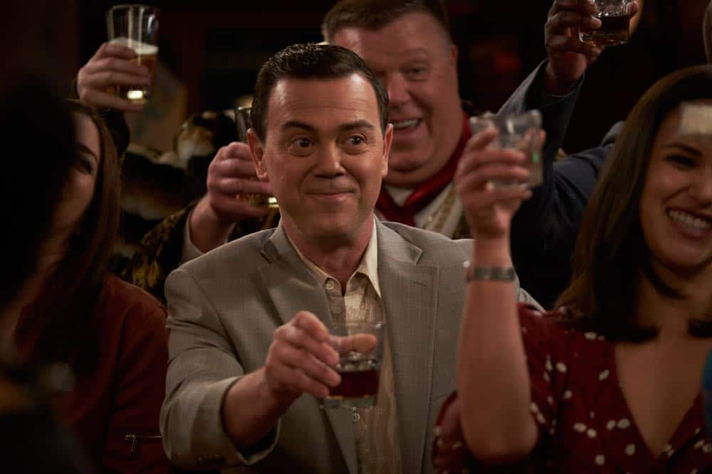 "BROOKLYN NINE-NINE: L-R: Joe Lo Truglio, Joel McKinnon Miller and Melissa Fumero in the ""Bachelor/ette Party"" episode of BROOKLYN NINE-NINE airing Sunday, April 29 (8:30-9:00 PM ET/PT) on FOX. CR: FOX"