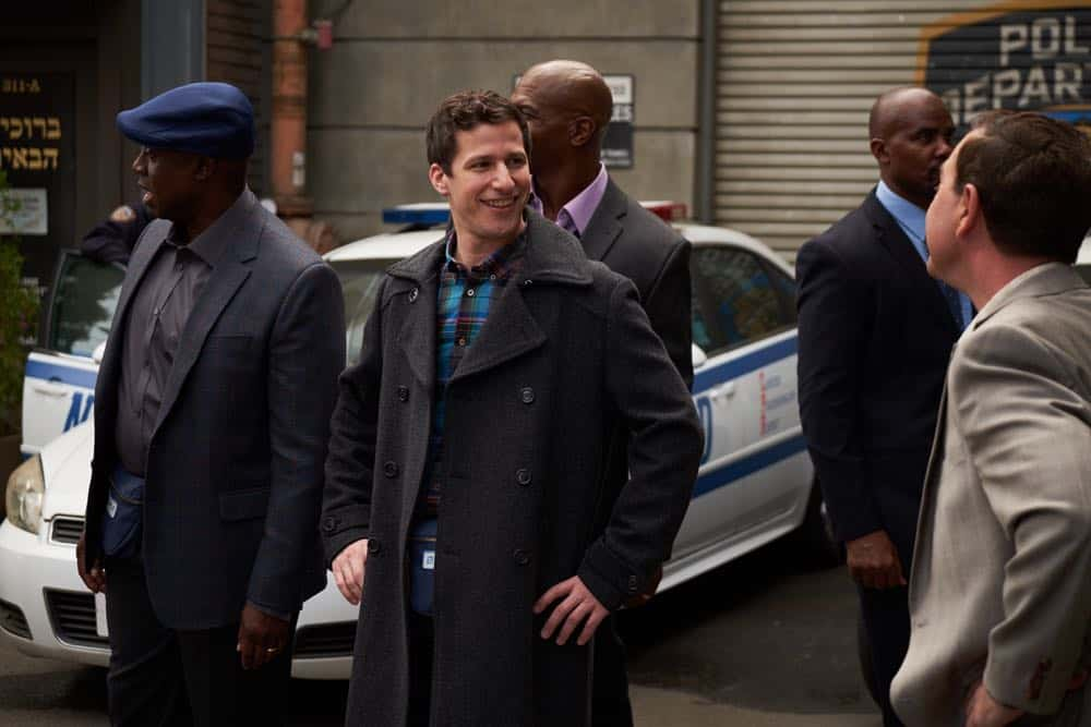 "BROOKLYN NINE-NINE: L-R: Andre Braugher, Andy Samberg and Terry crews in the ""Bachelor/ette Party"" episode of BROOKLYN NINE-NINE airing Sunday, April 29 (8:30-9:00 PM ET/PT) on FOX. CR: FOX"