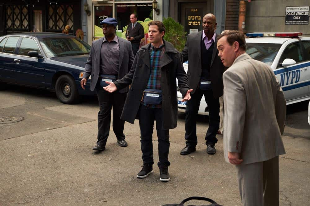 "BROOKLYN NINE-NINE: L-R: Andre Braugher, Andy Samberg, Terry crews and Joe Lo Truglio in the ""Bachelor/ette Party"" episode of BROOKLYN NINE-NINE airing Sunday, April 29 (8:30-9:00 PM ET/PT) on FOX. CR: FOX"