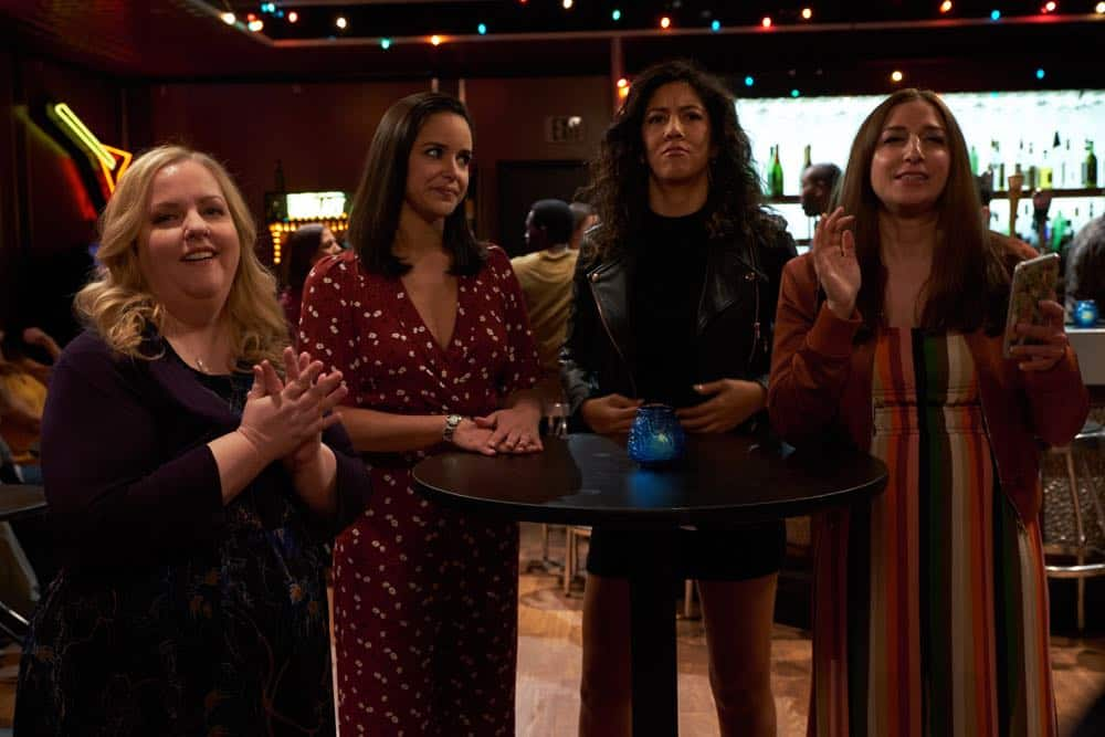 "BROOKLYN NINE-NINE: L-R: Guest star Sarah Baker, Melissa Fumero, Stephanie Beatriz and Chelsea Peretti in the ""Bachelor/ette Party"" episode of BROOKLYN NINE-NINE airing Sunday, April 29 (8:30-9:00 PM ET/PT) on FOX. CR: FOX"