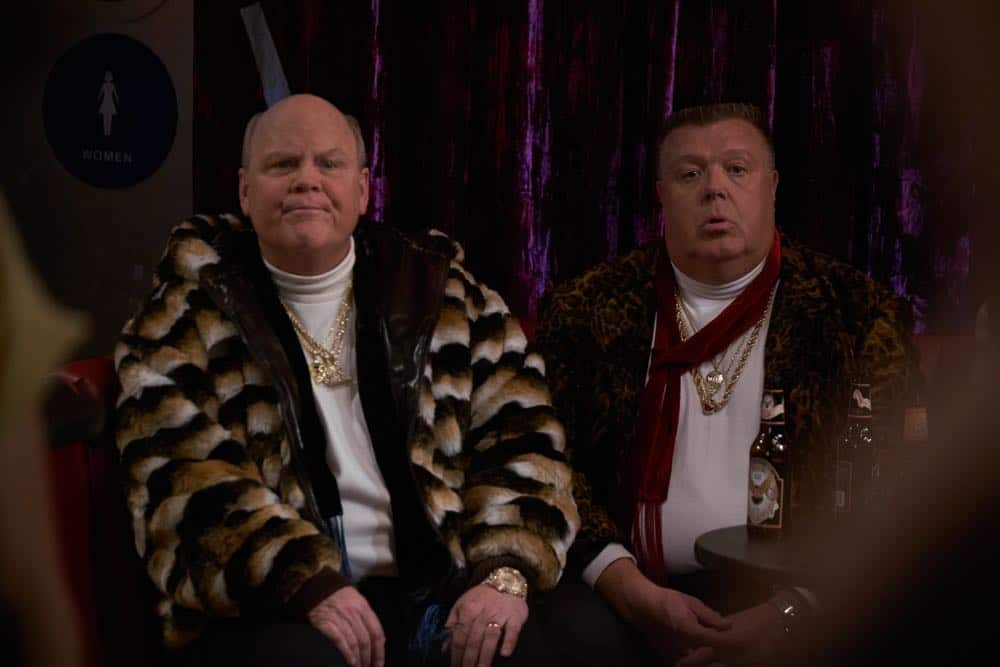 "BROOKLYN NINE-NINE: L-R: Dirk Blocker and Joel McKinnon Miller in the ""Bachelor/ette Party"" episode of BROOKLYN NINE-NINE airing Sunday, April 29 (8:30-9:00 PM ET/PT) on FOX. CR: FOX"