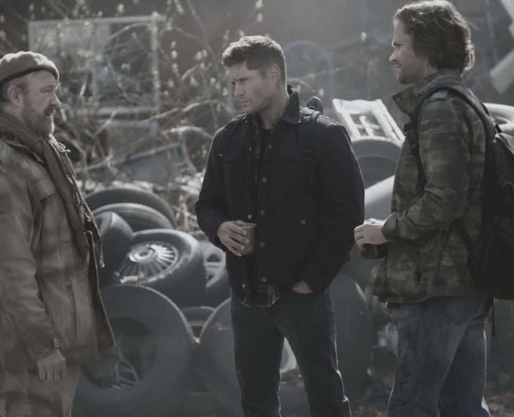 "Supernatural -- ""Exodus"" Jim Beaver as Bobby Singer, Jensen Ackles as Dean and Jared Padalecki as Sam"