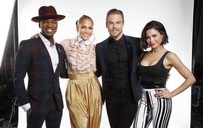 "WORLD OF DANCE -- ""Qualifiers"" -- Pictured: (l-r) Ne-Yo, Jennifer Lopez, Derek Hough, Jenna Dewan -- (Photo by: Trae Patton/NBC)"