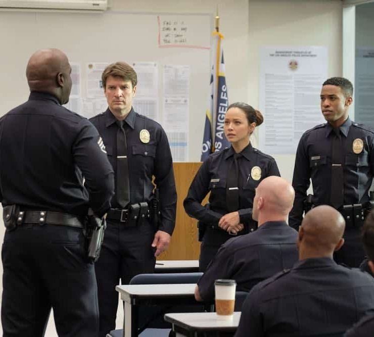"""THE ROOKIE - """"Pilot"""" - Starting over isn't easy, especially for small-town guy John Nolan who, after a life-altering incident, is pursuing his dream of being an LAPD officer. As the force's oldest rookie, he's met with skepticism from some higher-ups who see him as just a walking midlife crisis. If he can't keep up with the young cops and the criminals, he'll be risking lives including his own. But if he can use his life experience, determination and sense of humor to give him an edge, he may just become a success in this new chapter of his life. (ABC/Tony Rivetti) NATHAN FILLION, MELISSA O'NEIL, TITUS MAKIN"""