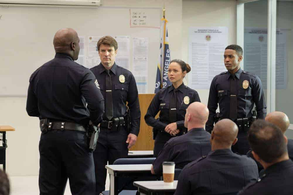 "THE ROOKIE - ""Pilot"" - Starting over isn't easy, especially for small-town guy John Nolan who, after a life-altering incident, is pursuing his dream of being an LAPD officer. As the force's oldest rookie, he's met with skepticism from some higher-ups who see him as just a walking midlife crisis. If he can't keep up with the young cops and the criminals, he'll be risking lives including his own. But if he can use his life experience, determination and sense of humor to give him an edge, he may just become a success in this new chapter of his life. (ABC/Tony Rivetti) NATHAN FILLION, MELISSA O'NEIL, TITUS MAKIN"