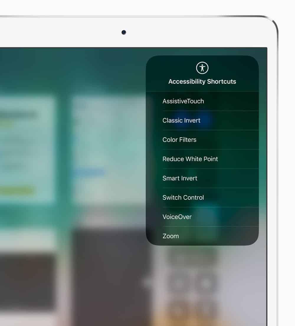 iPad Pro Accessibility Shortcuts screen 05172018