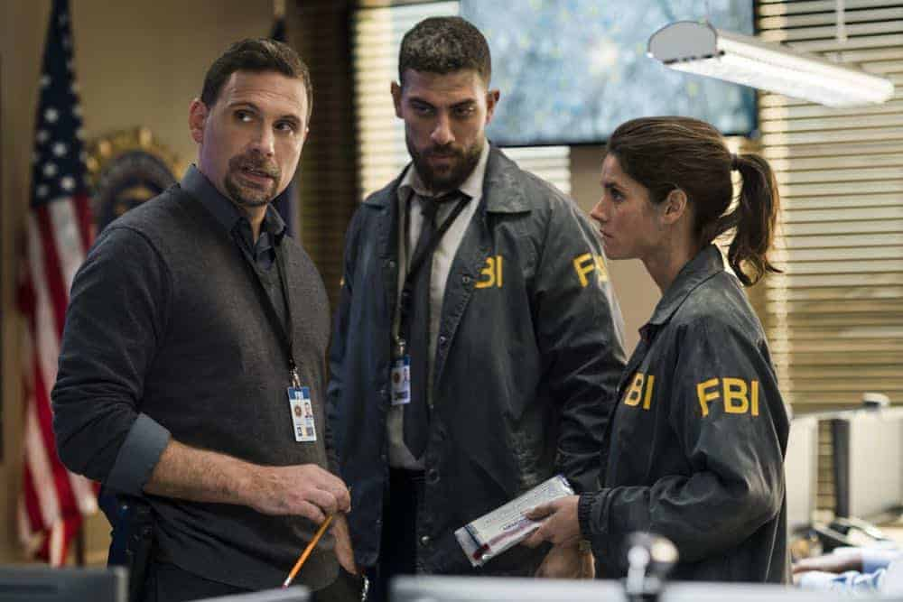 FBI Special Agent Maggie Bell (Missy Peregrym, pictured), her partner, Special Agent Omar Adom 'OA' Zidan (Zeeko Zaki, pictured, center), and Assistant Special Agent in Charge Jubal Valentine (Jeremy Sisto, pictured, left) Photo: Michael Parmelee/CBS ©2018 CBS Broadcasting, Inc. All Rights Reserved