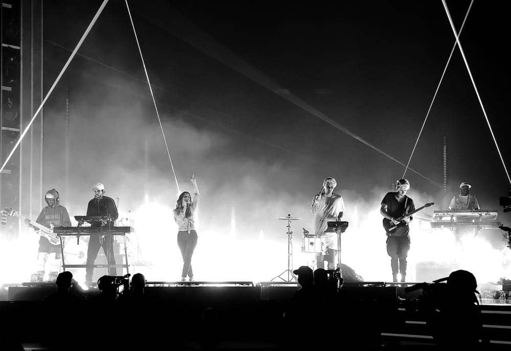 LAS VEGAS, NV - MAY 19: (EDITORS NOTE: This image has been converted to black and white. Color image available.) (L-R) Zedd and Maren Morris with Michael Trewartha and Kyle Trewartha of Duo rehearse onstage for the 2018 Billboard Music Awards at MGM Grand Garden Arena on May 19, 2018 in Las Vegas, Nevada. (Photo by Kevin Winter/Getty Images for dcp) *** Local Caption *** Zedd; Maren Morris; Michael Trewartha; Kyle Trewartha