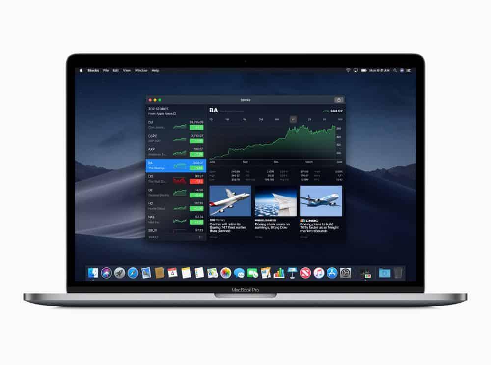 macOS preview Stocks screen 06042018