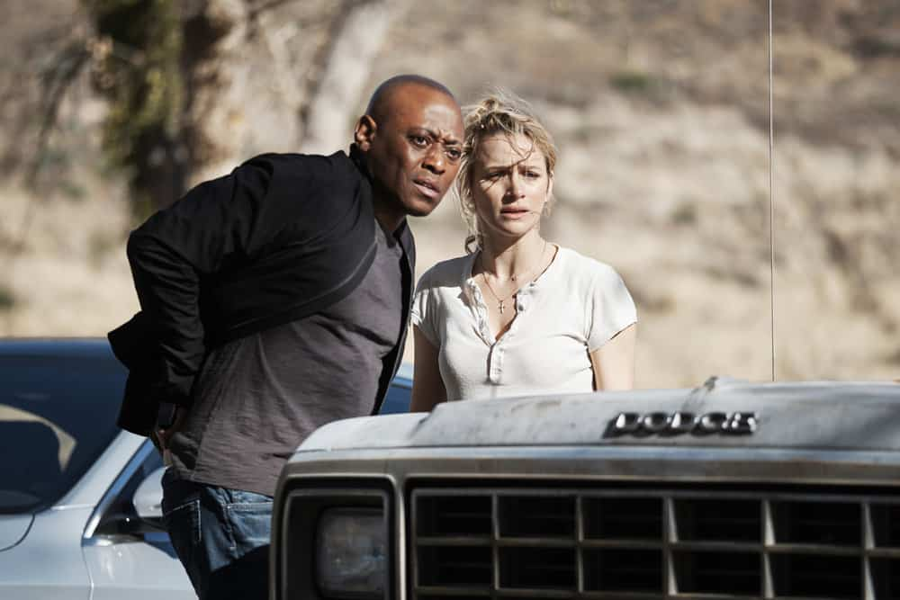 "SHOOTER -- ""Backroads"" Episode 301 -- Pictured: (l-r) Omar Epps as Isaac Johnson, Shantel Vansanten as Julie Swagger -- (Photo by: Adam Rose/USA Network)"