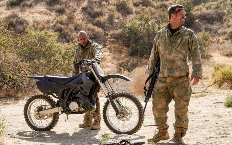 """""""To Live And Die In Mexico"""" -- Pictured: LL COOL J (Special Agent Sam Hanna) and Chris O'Donnell (Special Agent G. Callen). Gravely injured and unable to communicate to the team in Los Angeles, Callen, Sam and Kensi, with an unconscious Deeks in tow, search for help and a way home during their off-the-books mission in Mexico, on the tenth series premiere of NCIS: LOS ANGELES, Sunday, Sept. 30 (9:30-10:30, ET/PT), on the CBS Television Network. Photo: Robert Voets/CBS ©2018 CBS Broadcasting, Inc. All Rights Reserved."""