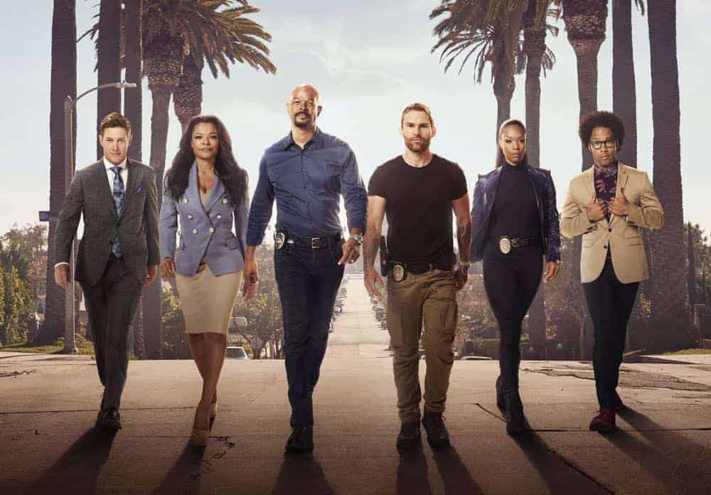 LETHAL WEAPON: L-R: Kevin Rahm, Keesha Sharp, Damon Wayans, Seann William Scott, Michelle Mitchenor and Johnathan Fernandez. Season three of LETHAL WEAPON premiers Tuesday, Sept. 25 (9:00-10:00 PM ET/PT) on FOX. ©2018 Fox Broadcasting Co. CR: Peter Yang/FOX