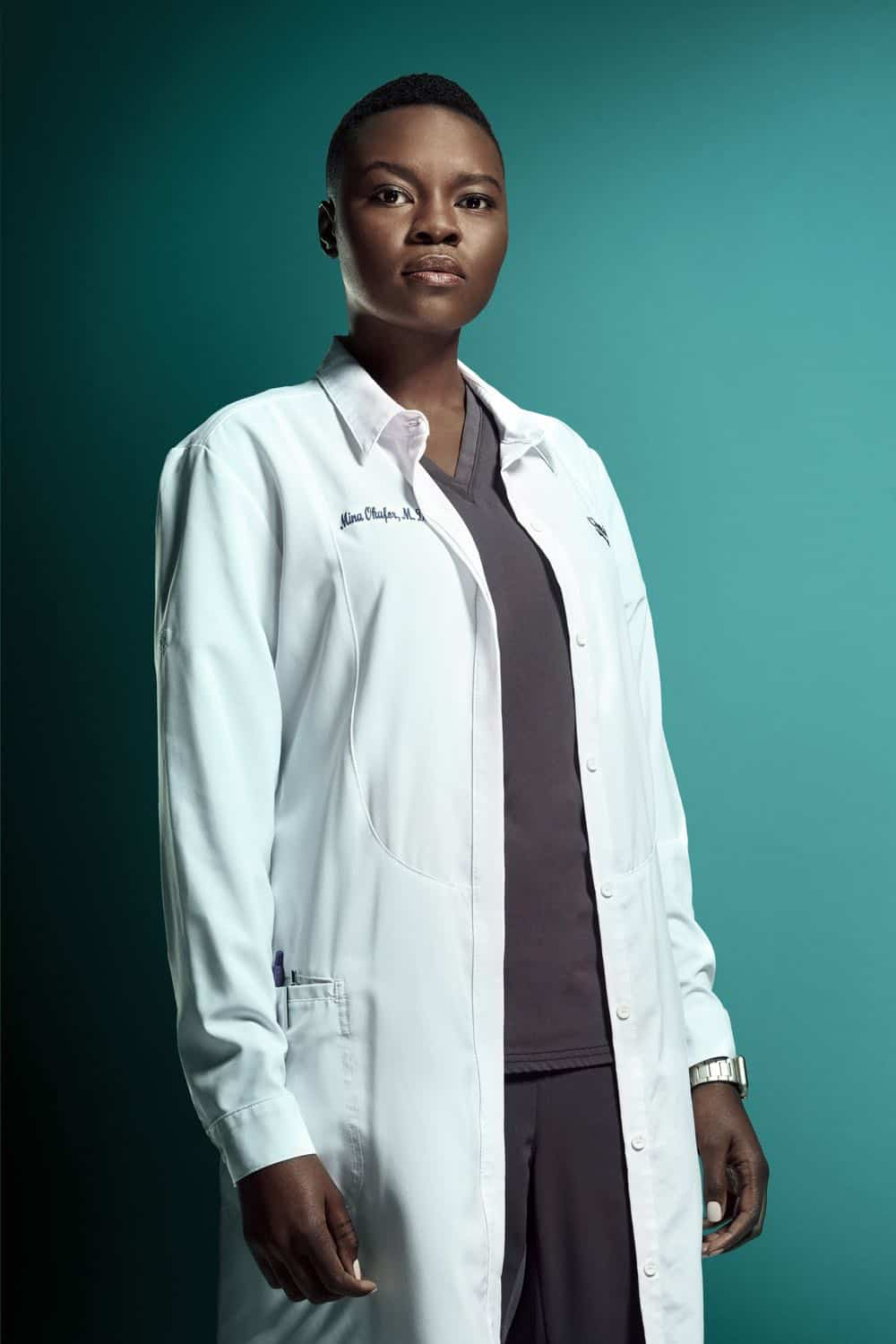 THE RESIDENT: Shaunette Renée Wilson as Dr. Mina Okafor in the second season of THE RESIDENT premiering Monday, Sept. 24 (8:00-9:00 PM ET/PT) on FOX. ©2018 Fox Broadcasting Co. Cr: Miranda Penn Turin/FOX