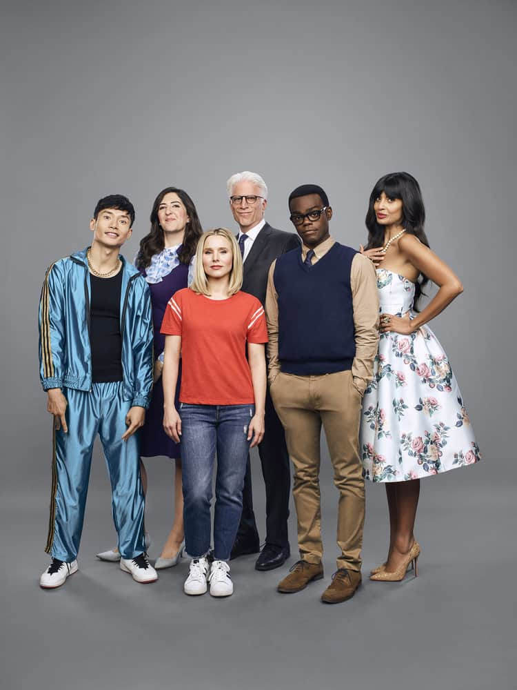 THE GOOD PLACE -- Season: 3 -- Pictured: (l-r) Manny Jacinto as Jason, D'Arcy Carden as Janet, Kristen Bell as Eleanor, Ted Danson as Michael, William Jackson Harper as Chidi, Jameela Jamil as Tahani -- (Photo by: Andrew Eccles/NBC)