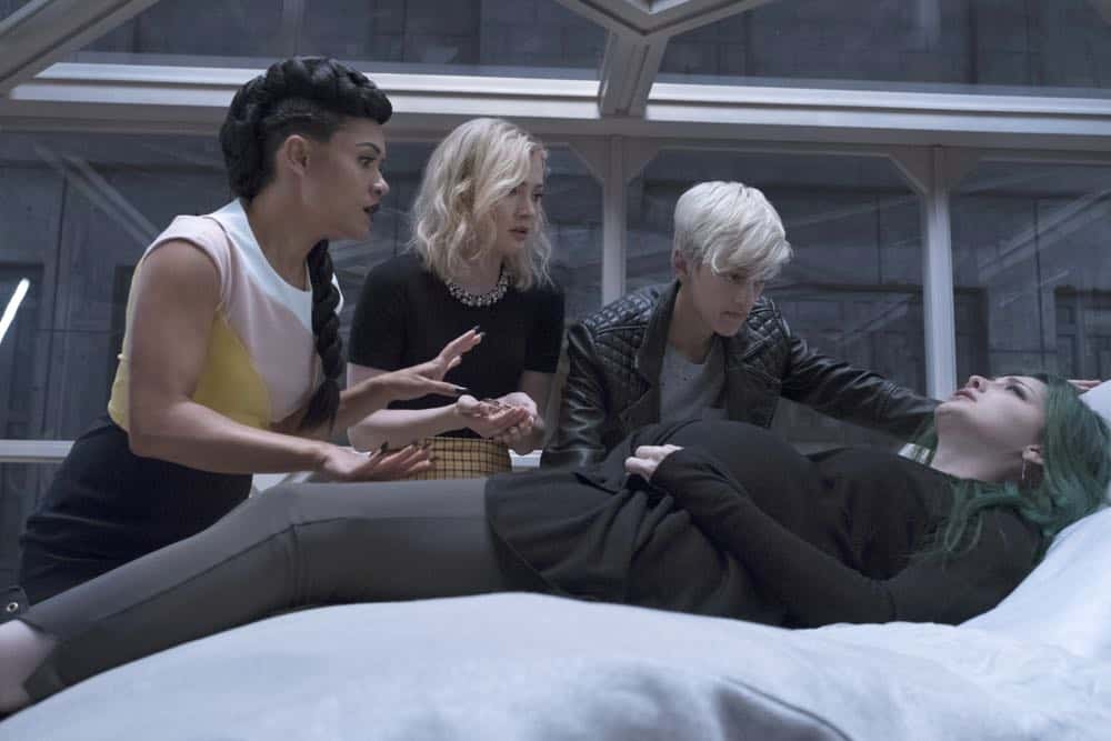 "THE GIFTED: L-R: Reeva Payge (Grace Byers, R), Esme Frost (Skyler Samuels), Andy Strucker (Percy Hynes White) and Polaris/Lorna Dane (Emma Dumont) in the ""eMergence"" season two premiere episode of THE GIFTED airing Tuesday, Sept. 25 (8:00-9:00 PM ET/PT) on FOX. ©2018 Fox Broadcasting Co. Cr: Steve Dietl/FOX"