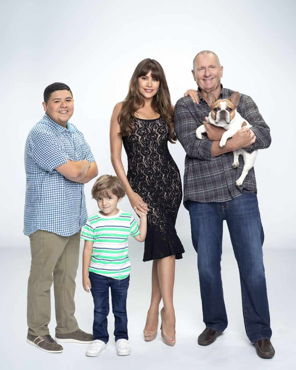 "MODERN FAMILY - ABC's ""Modern Family"" stars Rico Rodriguez as Manny Delgado, Jeremy Maguire as Joe Pritchett, Sofia Vergara as Gloria Delgado-Pritchett, and Ed O'Neill as Jay Pritchett. (ABC/Robert Ashcroft)"
