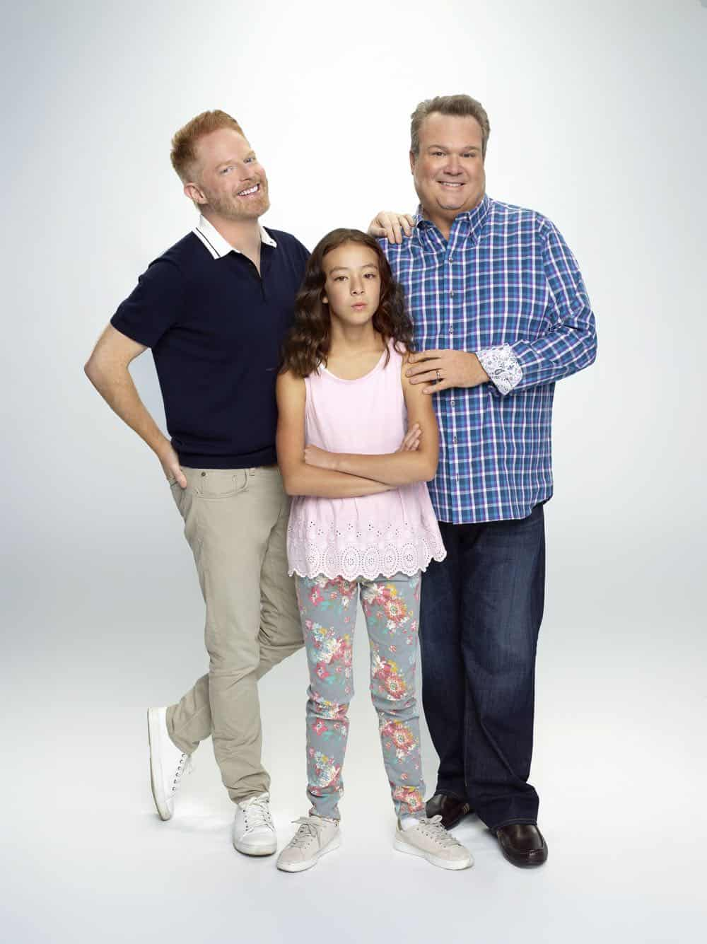 "MODERN FAMILY - ABC's ""Modern Family"" stars Jesse Tyler Ferguson as Mitchell Pritchett, Aubrey Anderson-Emmons as Lily Tucker-Pritchett, and Eric Stonestreet as Cameron Tucker. (ABC/Robert Ashcroft)"