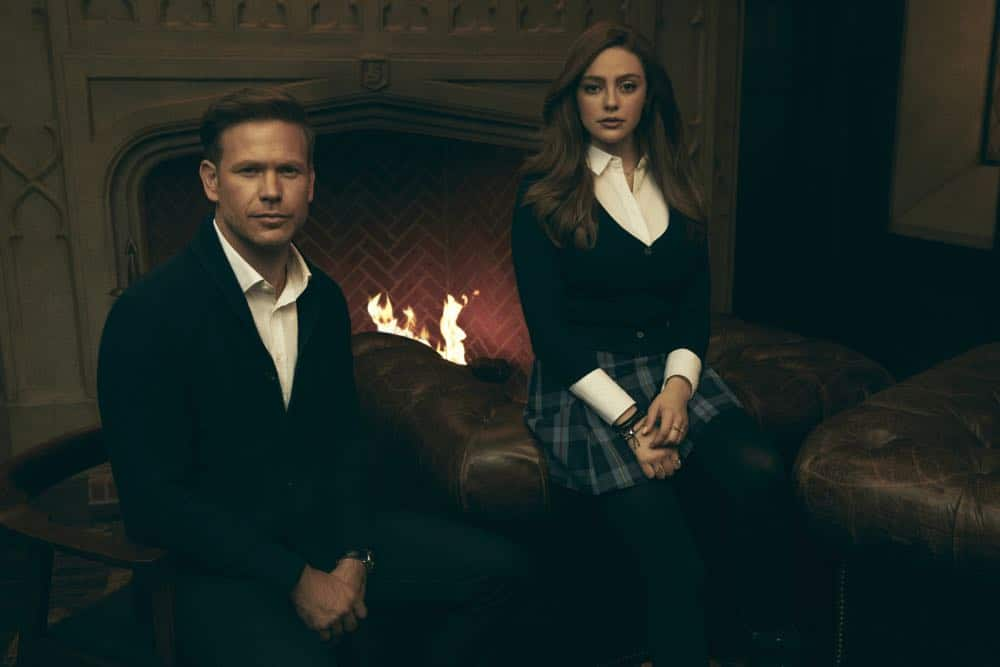 Legacies -- Image Number: LGC1_GROUP_2_0001r.jpg -- Pictured (L-R): Matthew Davis as Alaric and Danielle Rose Russell as Hope -- Photo: Miller Mobley/The CW -- © 2018 The CW Network, LLC. All Rights Reserved.