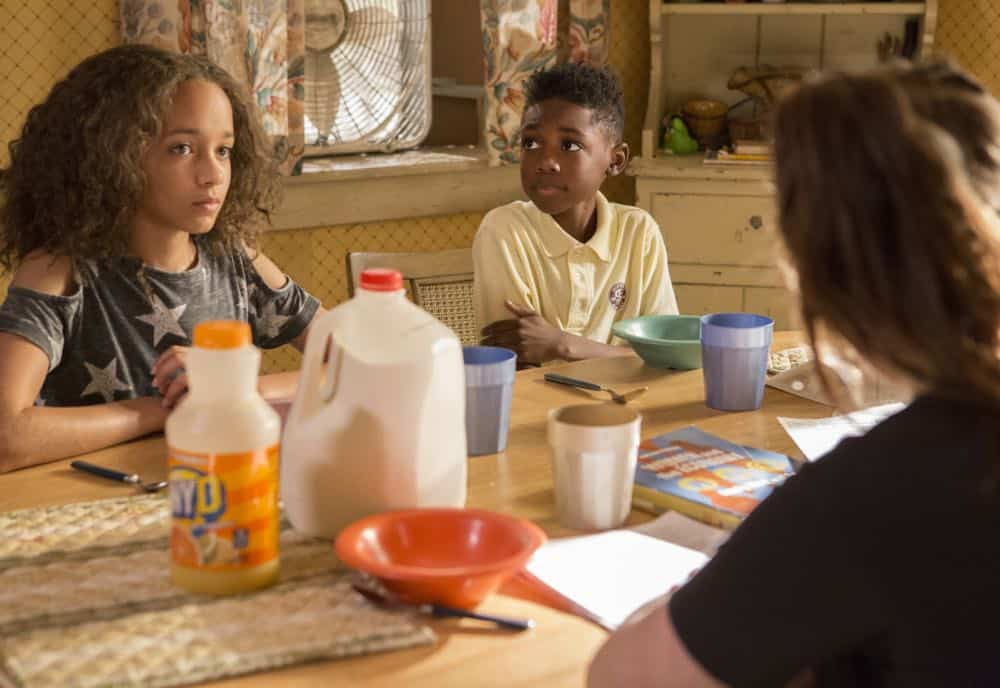 "Amirah Johnson as Xan and Christian Isaiah as Liam Gallagher in SHAMELESS (Season 9, Episode 02, ""Mo White for President""). - Photo: Paul Sarkis/SHOWTIME - Photo ID: SHAMELESS_902_858"