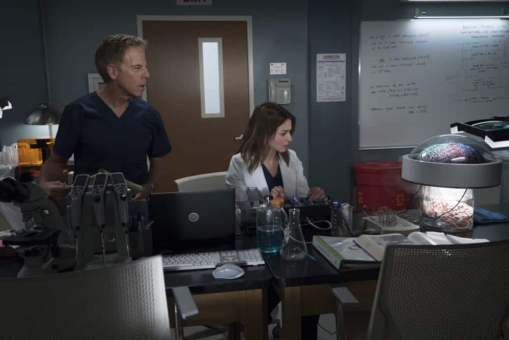 "GREY'S ANATOMY - ""With a Wonder and a Wild Desire""/""Broken Together"" - During the first hour of the two-hour season premiere, the doctors at Grey Sloan Memorial vie for a new position. Meredith is seemingly distracted and struggles to stay focused, and Maggie finds herself the keeper of a big secret while Amelia and Owen try to figure out their relationship. Meanwhile, Jo and Alex's honeymoon doesn't go exactly as planned. In the second hour, new doctors continue to shake up the hospital in typical Grey Sloan manner. Meredith bonds with a patient while Jackson struggles with the meaning behind recent experiences; and after making a life-changing decision, Jo forms an unexpected alliance. The two-hour season premiere of ""Grey's Anatomy"" airs THURSDAY, SEPT. 27 (8:00-10:00 p.m. EDT), on The ABC Television Network. (ABC/Eric McCandless) GREG GERMANN, CATERINA SCORSONE"