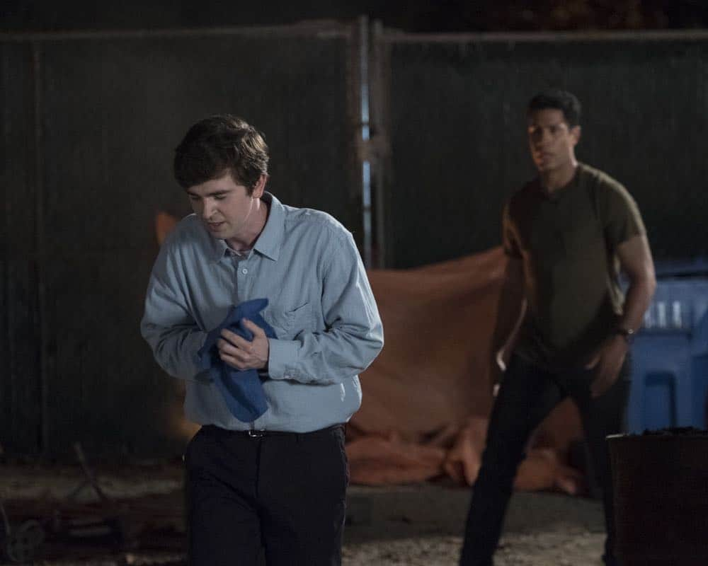 """THE GOOD DOCTOR - """"Hello"""" - Shaun's (Freddie Highmore) proposed treatment for a homeless patient puts him and Jared (Chuku Modu) in Andrews' (Hill Harper) crosshairs. Meanwhile, Claire (Antonia Thomas) tries to overcome Melendez's (Nicholas Gonzalez) reluctance to do a risky heart operation while Glassman (Richard Schiff) must overcome his personal feelings about his oncologist, Dr. Marina Blaize (guest star Lisa Edelstein), and face a difficult decision about his health, on the season premiere of """"The Good Doctor,"""" MONDAY, SEPT. 24 (10:00-11:00 p.m. EDT), on The ABC Television Network. (ABC/Jeff Weddell) FREDDIE HIGHMORE, CHUKU MODU"""