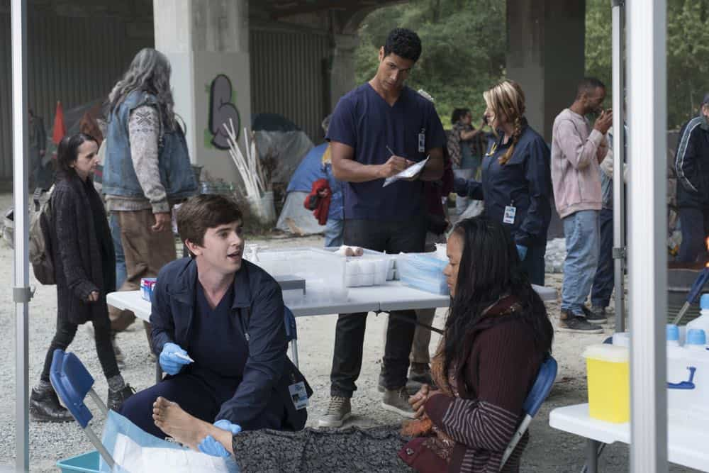 "THE GOOD DOCTOR - ""Hello"" - Shaun's (Freddie Highmore) proposed treatment for a homeless patient puts him and Jared (Chuku Modu) in Andrews' (Hill Harper) crosshairs. Meanwhile, Claire (Antonia Thomas) tries to overcome Melendez's (Nicholas Gonzalez) reluctance to do a risky heart operation while Glassman (Richard Schiff) must overcome his personal feelings about his oncologist, Dr. Marina Blaize (guest star Lisa Edelstein), and face a difficult decision about his health, on the season premiere of ""The Good Doctor,"" MONDAY, SEPT. 24 (10:00-11:00 p.m. EDT), on The ABC Television Network. (ABC/Jeff Weddell) FREDDIE HIGHMORE, CHUKU MODU"