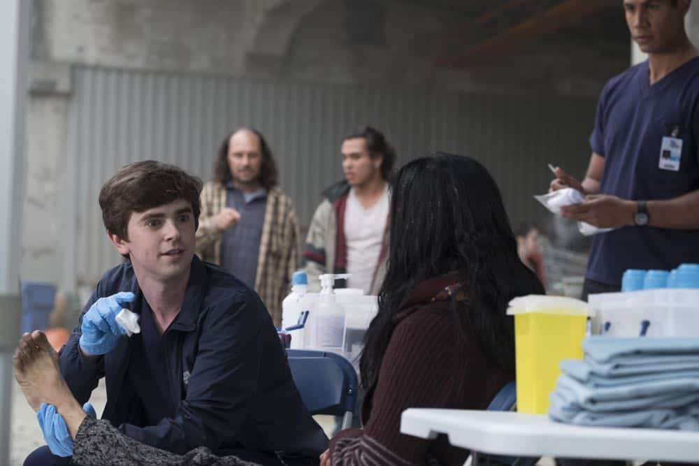 "THE GOOD DOCTOR - ""Hello"" - Shaun's (Freddie Highmore) proposed treatment for a homeless patient puts him and Jared (Chuku Modu) in Andrews' (Hill Harper) crosshairs. Meanwhile, Claire (Antonia Thomas) tries to overcome Melendez's (Nicholas Gonzalez) reluctance to do a risky heart operation while Glassman (Richard Schiff) must overcome his personal feelings about his oncologist, Dr. Marina Blaize (guest star Lisa Edelstein), and face a difficult decision about his health, on the season premiere of ""The Good Doctor,"" MONDAY, SEPT. 24 (10:00-11:00 p.m. EDT), on The ABC Television Network. (ABC/Jeff Weddell) FREDDIE HIGHMORE"