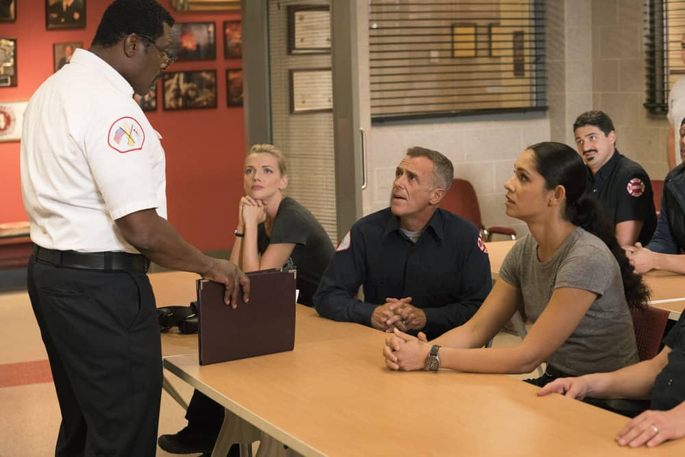 "CHICAGO FIRE -- ""A Closer Eye"" Episode 701 -- Pictured: (l-r) Eamonn Walker as Wallace Boden, Kara Killmer as Sylvie Brett, David Eigenberg as Christopher Herrmann, Miranda Rae Mayo as Stella Kidd, Yuri Sardarov as Otis -- (Photo by: Elizabeth Sisson/NBC)"