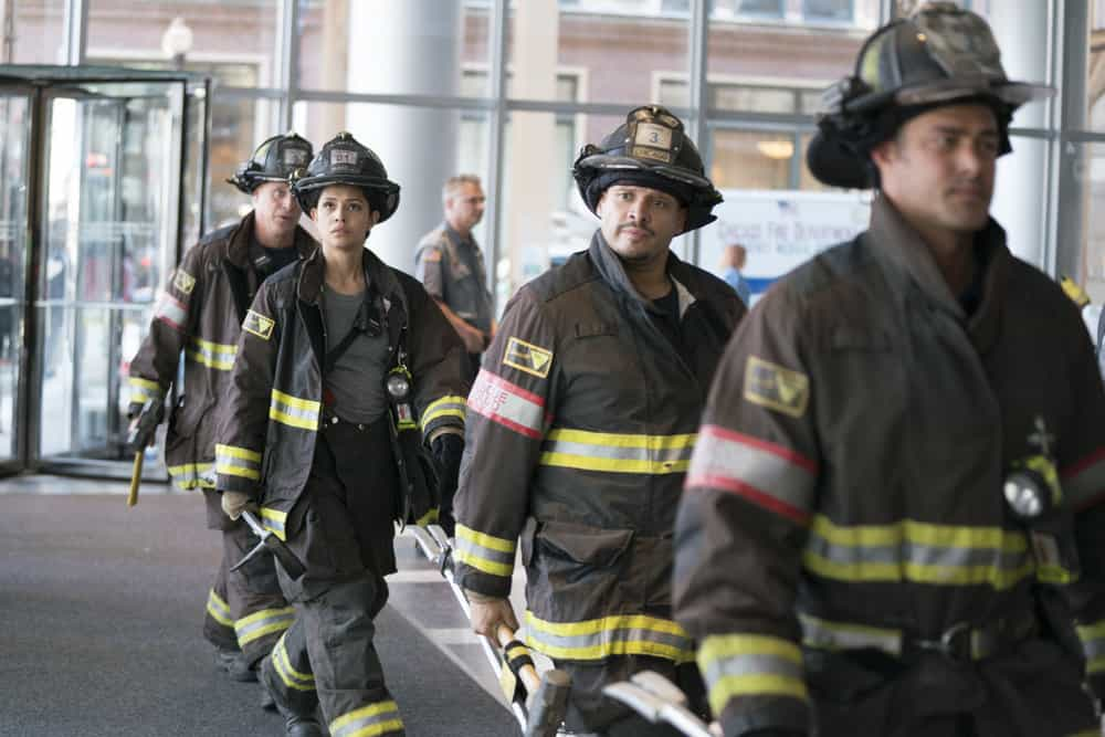 "CHICAGO FIRE -- ""A Closer Eye"" Episode 701 -- Pictured: (l-r) Miranda Rae Mayo as Stella Kidd, Joe Minoso As Joe Cruz -- (Photo by: Elizabeth Sisson/NBC)"