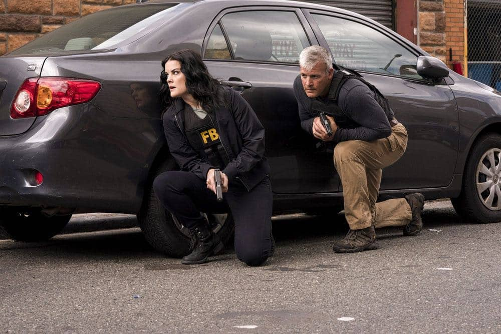 "BLINDSPOT -- ""Hella Duplicitous"" Episode 401 -- Pictured: Jaimie Alexander as Jane Doe -- (Photo by: Virginia Sherwood/NBC/Warner Bros.)"