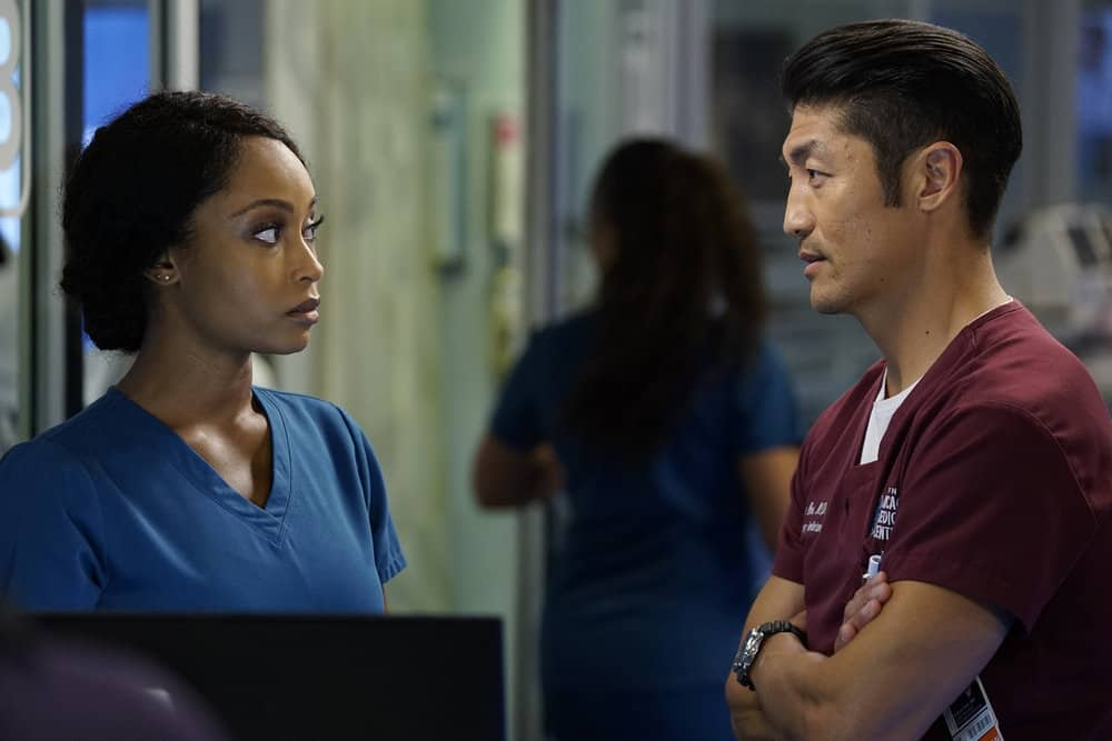 """CHICAGO MED -- """"Be My Better Half"""" Episode 401 -- Pictured: (l-r) Yaya DaCosta as April Sexton, Brian Tee as Ethan Choi -- (Photo by: Elizabeth Sisson/NBC)"""