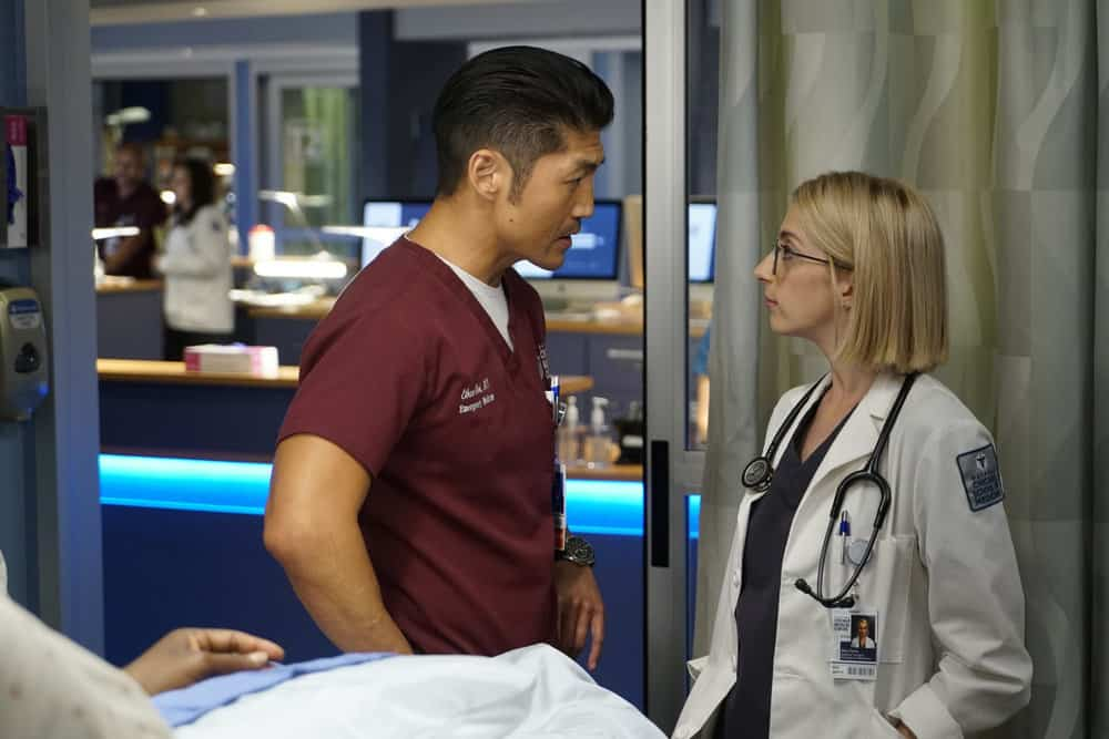 """CHICAGO MED -- """"Be My Better Half"""" Episode 401 -- Pictured: (l-r) Brian Tee as Ethan Choi, Molly Bernard as Elsa Currie -- (Photo by: Elizabeth Sisson/NBC)"""