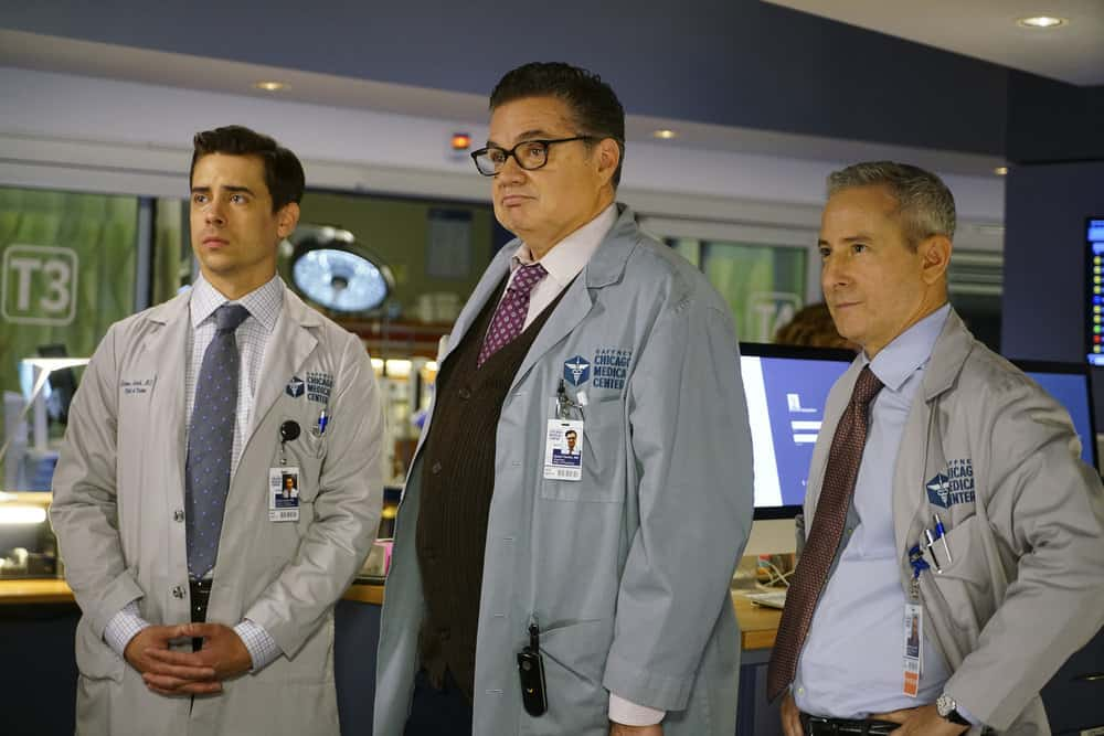 "CHICAGO MED -- ""Be My Better Half"" Episode 401 -- Pictured: (l-r) Nate Santana as Jimmy Lanik, Oliver Platt as Dr. Daniel Charles, Eddie Jemison as Dr. Stanley Stohl -- (Photo by: Elizabeth Sisson/NBC)"