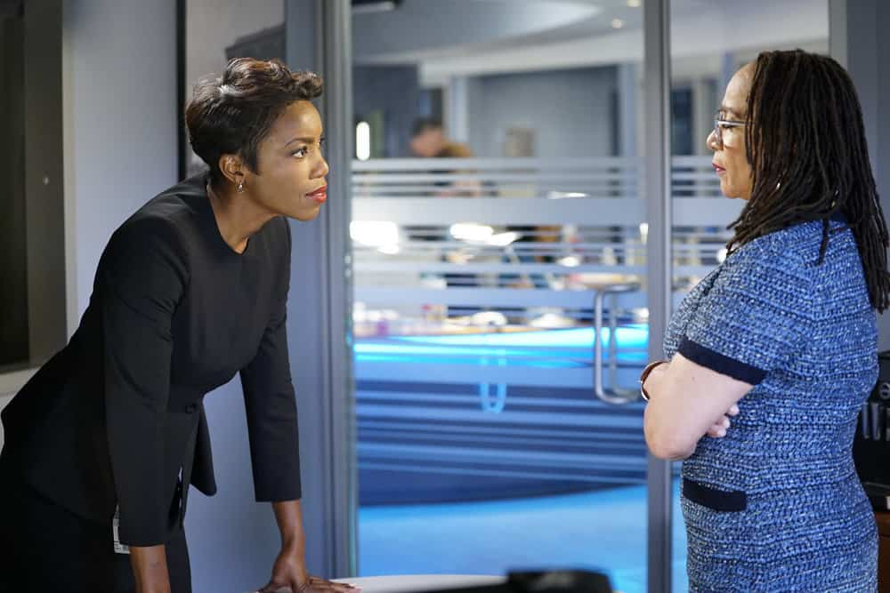 "CHICAGO MED -- ""Be My Better Half"" Episode 401 -- Pictured: (l-r) Heather Headley as Gwen Garrett, S. Epatha Merkerson as Sharon Goodwin -- (Photo by: Elizabeth Sisson/NBC)"
